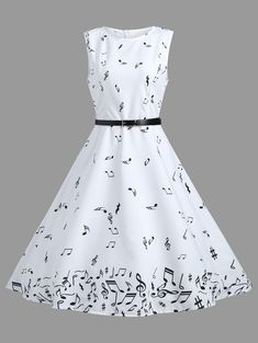 Clothes Vintage Musical Notes Print A Line Dress - WHITE XL - Fashion Clothing Site with greatest number of Latest casual style Dresses as well as other categories such as men, kids, swimwear at a affordable price. Robes Vintage, Vintage Dresses, Vintage Outfits, Vintage Fashion, 1950s Dresses, Vintage Clothing, 1950s Fashion, Lolita Fashion, Dress Outfits
