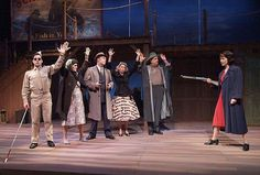 WHODUNIT: (L to R): Brett Ryback, DeeDee Rescher, Brendan Ford, Traci L. Crouch, Tom Shelton and Kirsten Potter in Red Herring by Michael Hollinger at the Laguna Playhouse.