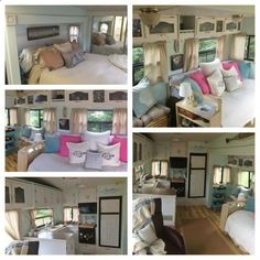 5th wheel/camper/rv renovation and decorating. Great ideas for organizing and making things feel bigger. Love how light and airy and calm it is.