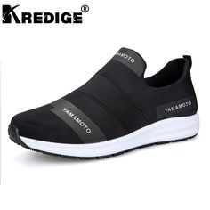 KREDIGE Breathable Non-Slip Casual Men's Shoes Hard-Wearing Soles Breathable Streth Fabric Shoes Letter Pattern Men Shoes 39-44 | US $65.00