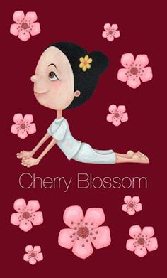 Yoga Girl - Cherry Blossom #yoga #illustration #childrens