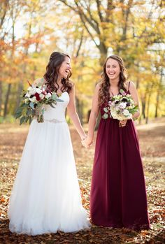 Wedding Pics Every bride should have a photo like this with their bestie on the wedding day! From a rustic November wedding at the Pavilion on Crystal Lake in CT. Love this bride and her bridesmaid in a burgundy dress laughing and holding hands! Sister Wedding Pictures, Bride And Bridesmaid Pictures, Wedding Picture Poses, Bride Pictures, Wedding Poses, Brides And Bridesmaids, Wedding Day, Wedding Advice, Wedding Planning