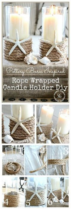DIY Beach Inspired Rope Wrapped Candleholder | Outdoor Wedding Beach Wedding Ideas On A Budget @bestbrilliance #weddingcandlesoutdoor #weddingcandlesdesign #budgetwedding