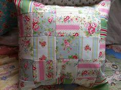 Pastel patchwork cushion