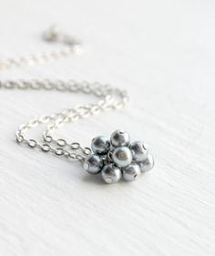 Simple Silver and Gray Faux Pearl Beaded Cluster Pendant by belleonabudget, $10.00 #wedding #cluster #bridesmaid #jewelry