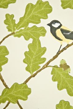 Waldemar Wallpaper Cream wallpaper with oak leaf and bird design in green black and yellow.