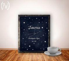 Nursery Zodiac Astrology art printable, personalized name nursery decor print, custom, digital typography stars astrological sign on Etsy, $8.00