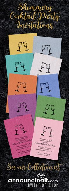 Modern line drawing of two wine glasses toast printed on your choice of ten colors of shimmery papers (comes with shimmery white envelopes). Beautiful invitations for birthday party invitations, cocktail party invitations, retirement party invitations, wedding rehearsal dinner party invitations, engagement party invitations and more...just change the wording to fit your special occasion. See our entire invitation collection at Announcingit.com