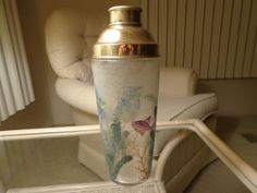vintage art deco czech glass cocktail shaker hand painted fish beach sea barware $65