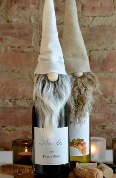 Need a hostess/host/housewarming gift, or hosting a party yourself? This handmade Nordic Gnome™ wine/bottle topper is a fun, perfect-little-something to cheer up the party! This listing is for ONE Scandinavian Gnome Bottle Topper: Christmas Gnome, Primitive Christmas, Diy Christmas Gifts, Christmas Projects, Nordic Christmas, Christmas Ornaments, Merry Christmas, Christmas Tables, Wine Bottle Crafts