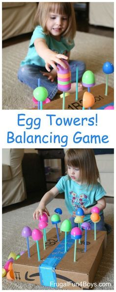 Egg Towers! Fine Motor Balancing Game - great way to develop the shoulder and arm muscles for pre-handwriting skills.
