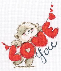 Rto I Love You I Cross Stitch Kit - Multi - Finished design size: 24 x 27 cm.This romantic love design cross stitch kit includes: 14 count Aida, DMC embroidery floss, chart, needle and instructions. Cross Stitch Supplies, Cross Stitch Kits, Cross Stitch Embroidery, Tatty Teddy, Valentines Day Drawing, Happy Valentines Day, Love Bears All Things, Teddy Bear Pictures, Blue Nose Friends