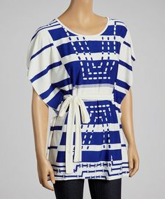 Look at this #zulilyfind! Blue Stripe Silk-Blend Cape-Sleeve Top #zulilyfinds