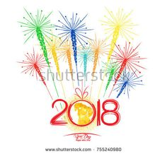 Happy new year fireworks 2018 holiday background design. Year of the dog