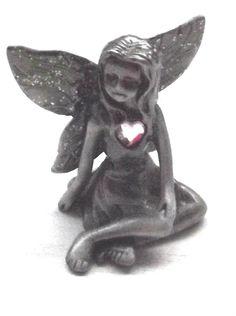 Vintage Pewter fairy purple heart-Vintage Collectable fairy purple heart 1980's by BunkysVintageCrafts on Etsy