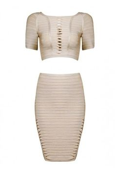 Posh Girl The Cut-Up Crop Bandage Skirt Set