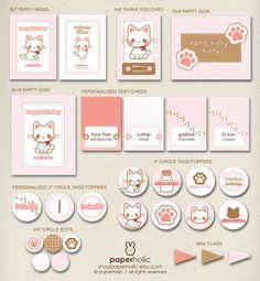 Kitty Cat Kitten Custom Party Décor Suite by shopPaperholic