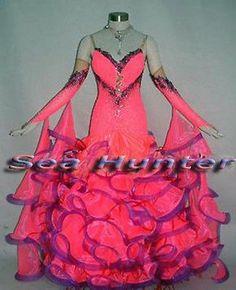 Ballroom Watlz Tango Standard Foxstep Dance Dress US 8 UK 10 Bright Pink Purple