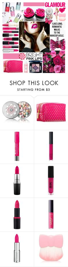 """Bright pink lipstick"" by amethystes ❤ liked on Polyvore featuring beauty, Anna Sui, Viktor & Rolf, Hello Kitty, Guerlain, Pinch Provisions, Bourjois, NARS Cosmetics, MAC Cosmetics and Essence"