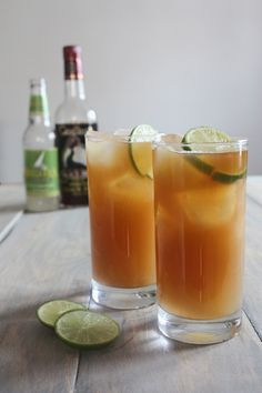 "Vanilla-Infused Pear Dark n' Stormy -- ginger beer (brewed ginger ""ale"") and rum drink, sans rum for me! Want to try this!"