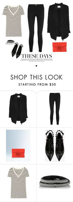 """Back to work - stripes, monochrome and boucle"" by mrs-box ❤ liked on Polyvore featuring IRO, Frame Denim, Boden, Valentino, J.Crew, Maria Rudman, Bottega Veneta, valentino, MyStyle and fashionoverforty"