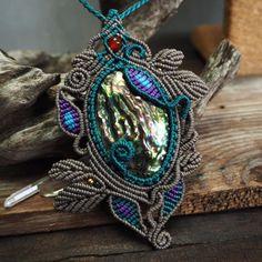 Macrame Choker Necklace Pendant Abalone Sea shell Waxed Cord Handmade #Handmade #Choker
