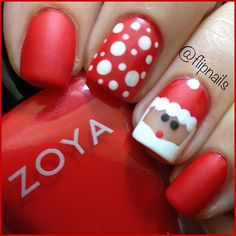 25 Christmas Nail Art Designs That You Will Love To Copy - Nail Polish Addicted Santa Nails, Xmas Nails, Get Nails, Hair And Nails, Easy Christmas Nails, Christmas Manicure, Valentine Nails, Halloween Nails, Christmas Nail Art Designs