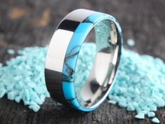 Wedding Band with Turquoise Inlay, Women's Rings Turquoise, Men's Rings Turquoise, Women's Wedding Bands Turquoise, Wedding Bands Turquoise Turquoise Wedding Band, Turquoise Rings, Meteorite Wedding Band, Barrel Rings, Something Blue Wedding, Womens Wedding Bands, Bridal Accessories, Wedding Jewelry, Types Of Rings