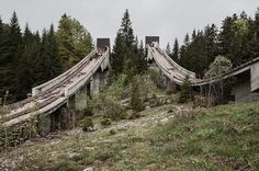 Abandoned Winter Olympic venues - Dual ski jumps decompose in Sarajevo. East German ski jumper Jens Weißflog, who won the gold and silver here, launched his 12-year Olympic career during the 1984 Games.