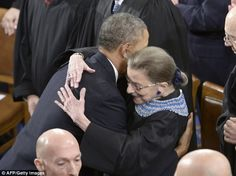 Justice Ruth Bader Ginsburg and President Obama hug it out at the State of the Union.