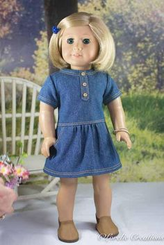 69cdd1190469 18 Inch Doll DRESS in Denim with Bracelet and BOOTS and PURSE Options for dolls  like American Girl