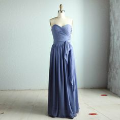 Bridesmaid chiffon Dress gray dress/floor length/grey by RenzRags, $118.00