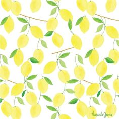 Watercolor Lemon Pattern by Amanda Gomes • Delighted Creative Co.