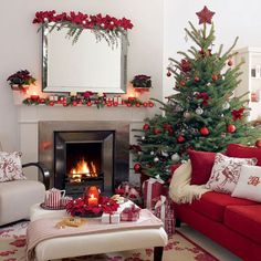 Draw the eye up with flowers and greenery along the top of a large mirror. Christmas Living Room (27)