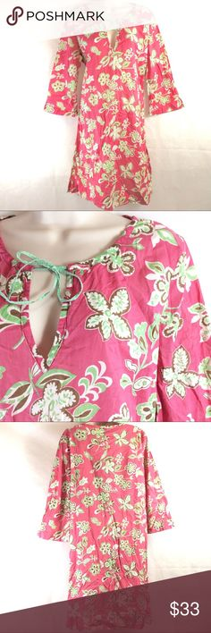 """BODEN 100% Cotton Floral Tunic BODEN Cotton Tunic Top Brand new without tags perfect condition! Made in India, 100% Cotton, super lightweight Hand Beaded in Chartreuse and peach bea Labeled a sz 14, exact measurements; Bust: 39"""" Length: 37"""" Boden Swim Coverups"""