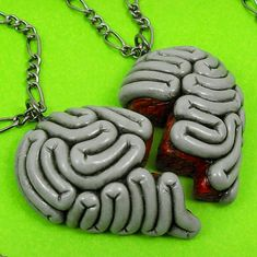 Oh, we know I can't resist a good piece of brain jewelry. Here are a couple from Beat Black. A friendship necklace: And for your classy ensembles. Polymer Clay Projects, Polymer Clay Art, Diy Clay, Polymer Clay Jewelry, Clay Crafts, Diy And Crafts, Arts And Crafts, Friendship Necklaces, Friend Necklaces