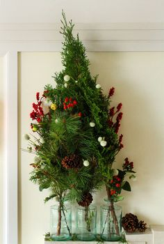 Create your own version of a Christmas tree: | 10 Adorable Ways To Decorate A Small Space For The Holidays