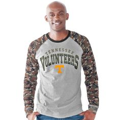 Tennessee Volunteers G-III Sports by Carl Banks Punt Return Camo Printed Jersey Top - Heather Gray/Camo - $35.99
