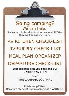The Camping And Caravanning Site. Tips To Help You Get More Enjoyment From Camping Trips. Camping is something that is fun for the entire family. Whether you are new to camping, or are a seasoned veteran, there are always things you must conside Rv Camping Checklist, Camping Essentials, Camping Packing, Camping Guide, Kids Checklist, Vacation Checklist, Camping Outfits, Backpacking Meals, Vacation Ideas
