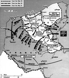 Dunkirk the Germans press in. World History Map, History Class, Historical Maps, Historical Pictures, Battle Of Dunkirk, Ww2 Facts, Dunkirk Evacuation, Military Tactics, Military Insignia