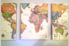 World map Canvas by Exquisitegoods on Etsy, $78.00