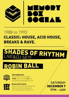 Memory Box Special | The Horse & Groom | London | https://beatguide.me/london/event/the-horse-groom-memory-box-social-with-shades-of-rhythm-live-88-92-classic-house-breaks-acid-house-rave-20131207
