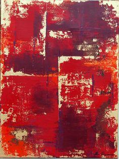 Large abstract Original Painting red gold by OriginalArtbyJen, $690.00