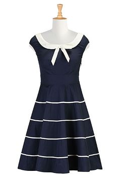 I <3 this Contrast bow-tie A-line dress from eShakti
