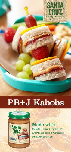 Ready for a really fun, quick snack idea you can make with your kids? Your kiddos will love our Lunchbox PB+J Kabobs made with Santa Cruz Organic® Dark Roasted Creamy Peanut Butter and Santa Cruz Organic® Strawberry Fruit Spread. From si Baby Food Recipes, Snack Recipes, Cooking Recipes, Lunch Snacks, Healthy Snacks, Healthy Kids, Fruit Snacks, Bento, Boite A Lunch