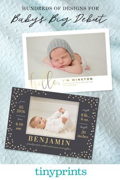 Whether your searching for foil-stamped cards or classic designs, find a birth announcement that matches baby's personality at Tiny Prints.
