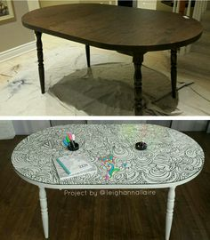 DIY adult coloring book table! Check out facebook.com/huelalablog to see how @leighannallaire turned a $50 find from the Habitat for Humanity Restore into an interactive colouring table by freehand painting the design and using RustOleum's clear dry erase paint... you can colour it over, and over, and over again!! Via www.huelala.com