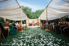 Loving the shade for outdoor guests and the modern mandap at this fusion wedding.    |Fusion wedding | Indian wedding | Indian wedding decor | mandaps