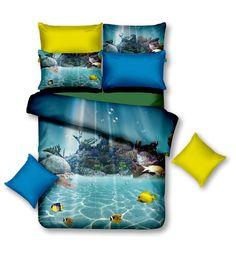 Povlečení modré barvy vodní svět Comforters, Blanket, Creature Comforts, Blankets, Carpet, Duvet, Bed Covers, Quilt