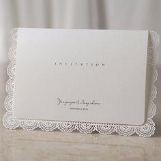 White Laser Cut Simple Lace Wedding Invitations | ItsInvitation